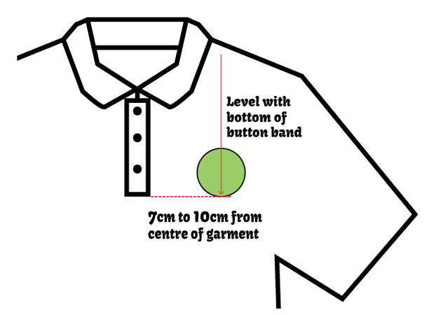 embroidered school badge polo shirt position